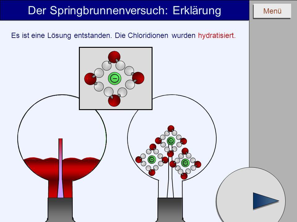 Menü Der Springbrunnenversuch: Erklärung Es ist eine Lösung entstanden. Die Chloridionen wurden hydratisiert.