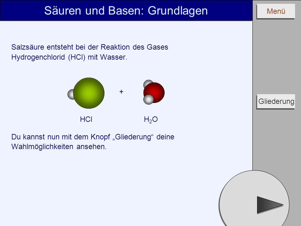 Menü Salzsäure entsteht bei der Reaktion des Gases Hydrogenchlorid (HCl) mit Wasser. Du kannst nun mit dem Knopf Gliederung deine Wahlmöglichkeiten an