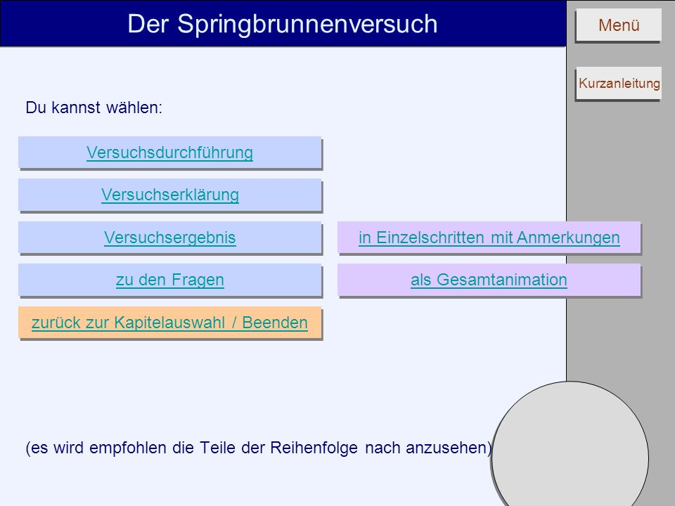 Menü Du kannst wählen: (es wird empfohlen die Teile der Reihenfolge nach anzusehen) Der Springbrunnenversuch Versuchserklärung Versuchsergebnis Versuc