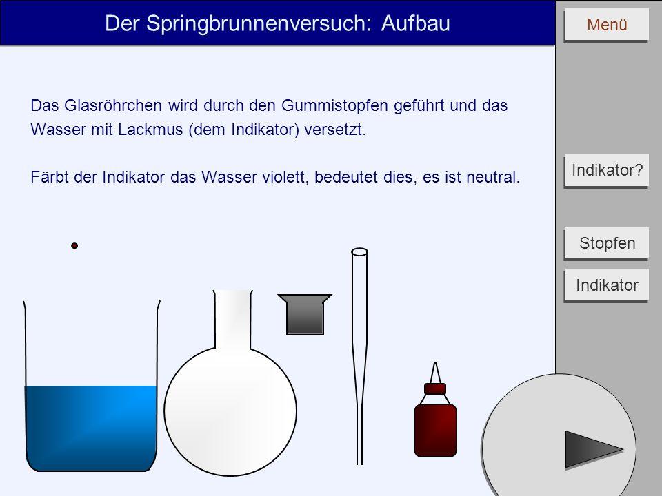 Menü Der Springbrunnenversuch: Aufbau Das Glasröhrchen wird durch den Gummistopfen geführt und das Wasser mit Lackmus (dem Indikator) versetzt. Färbt