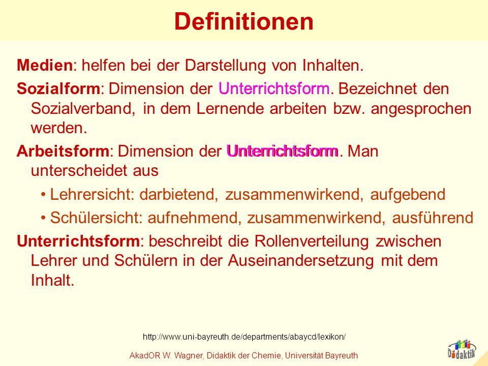AkadOR W. Wagner, Didaktik der Chemie, Universität Bayreuth Definitionen Medien: helfen bei der Darstellung von Inhalten. Sozialform: Dimension der Un