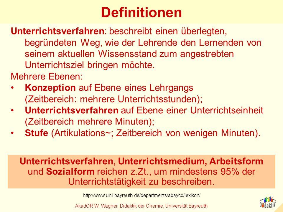 AkadOR W. Wagner, Didaktik der Chemie, Universität Bayreuth Definitionen Unterrichtsverfahren: beschreibt einen überlegten, begründeten Weg, wie der L