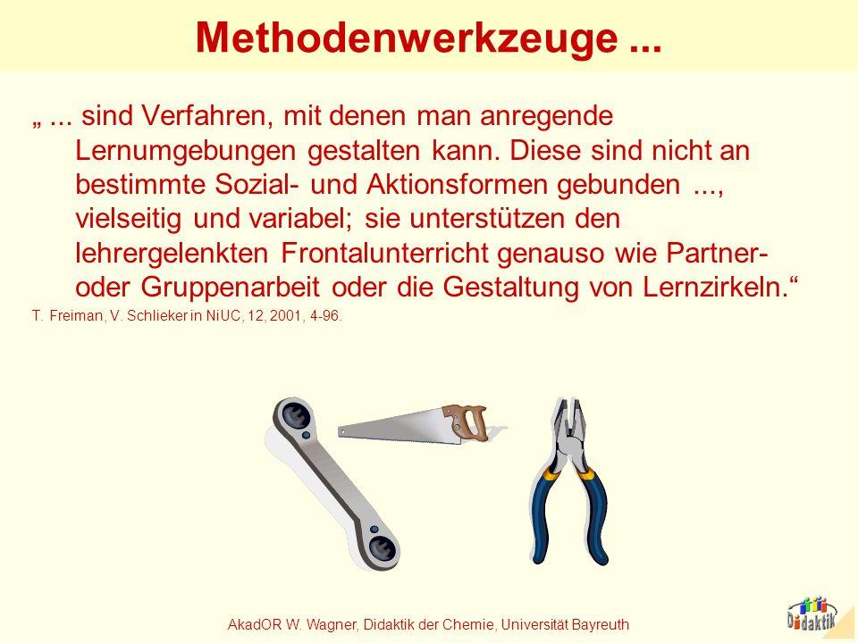 AkadOR W. Wagner, Didaktik der Chemie, Universität Bayreuth Methodenwerkzeuge...... sind Verfahren, mit denen man anregende Lernumgebungen gestalten k