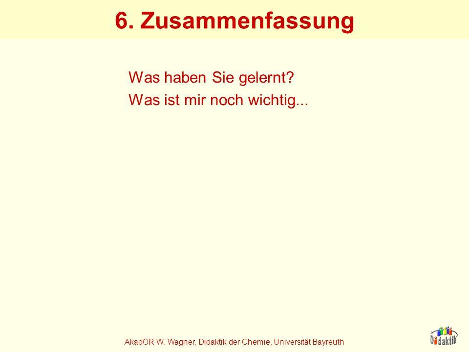 AkadOR W. Wagner, Didaktik der Chemie, Universität Bayreuth 6. Zusammenfassung Was haben Sie gelernt? Was ist mir noch wichtig...
