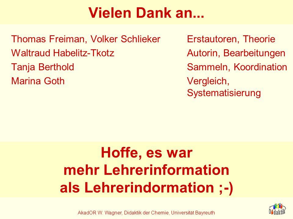 AkadOR W. Wagner, Didaktik der Chemie, Universität Bayreuth Vielen Dank an... Thomas Freiman, Volker SchliekerErstautoren, Theorie Waltraud Habelitz-T