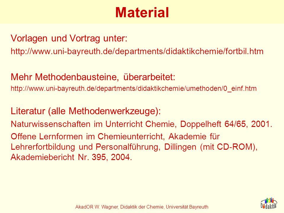 AkadOR W. Wagner, Didaktik der Chemie, Universität Bayreuth Material Vorlagen und Vortrag unter: http://www.uni-bayreuth.de/departments/didaktikchemie