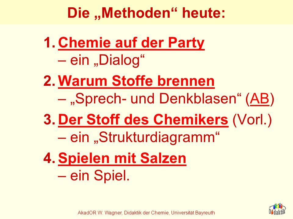 AkadOR W. Wagner, Didaktik der Chemie, Universität Bayreuth Die Methoden heute: 1.Chemie auf der Party – ein DialogChemie auf der Party 2.Warum Stoffe