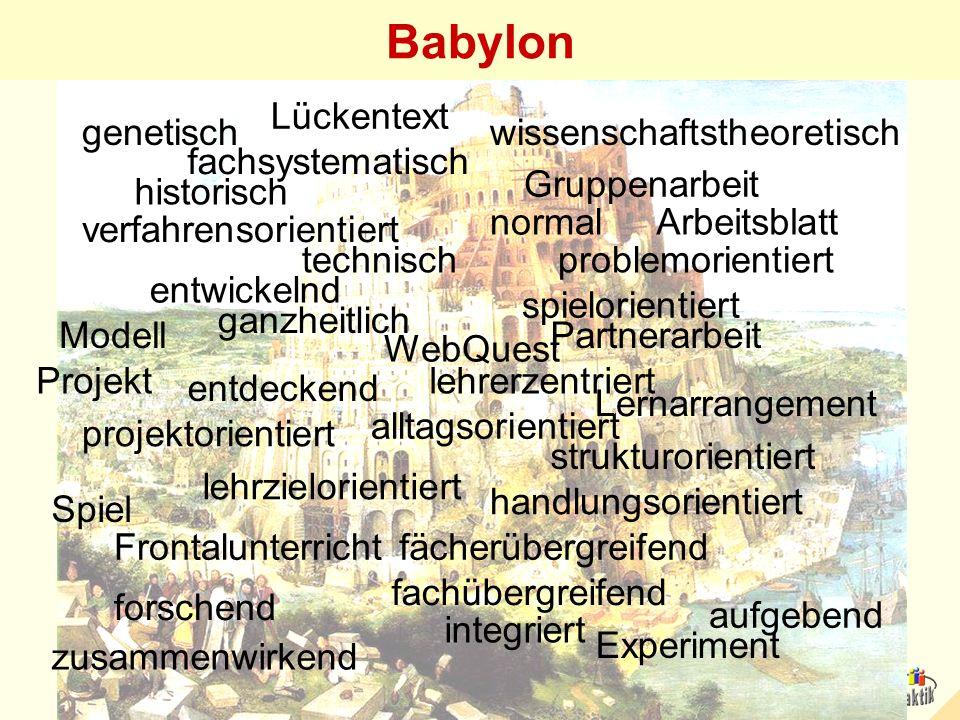 Babylon genetischwissenschaftstheoretisch problemorientiert entdeckend forschend entwickelnd fachsystematisch historisch alltagsorientiert spielorient
