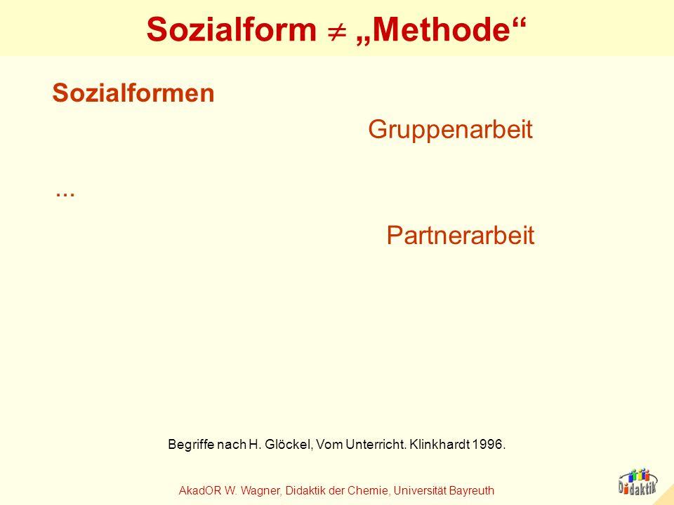 AkadOR W. Wagner, Didaktik der Chemie, Universität Bayreuth Sozialform Methode Gruppenarbeit Partnerarbeit Sozialformen... Begriffe nach H. Glöckel, V