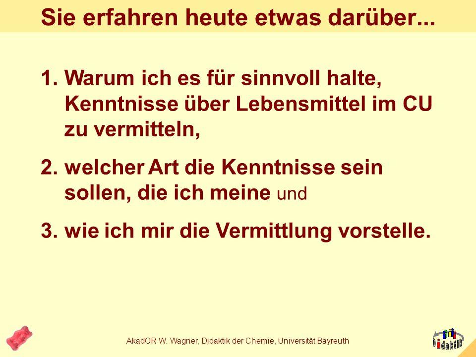 AkadOR W. Wagner, Didaktik der Chemie, Universität Bayreuth Süßes aus und für den Unterricht Oder: Warum schmecken Gummibärchen rot? SINUS-Fortbildung