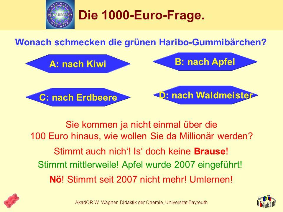 AkadOR W. Wagner, Didaktik der Chemie, Universität Bayreuth 1. Ansatz: Mehrwert durch Technologie Problemstellung: 1.Das Produkt muss wirklich gummiar