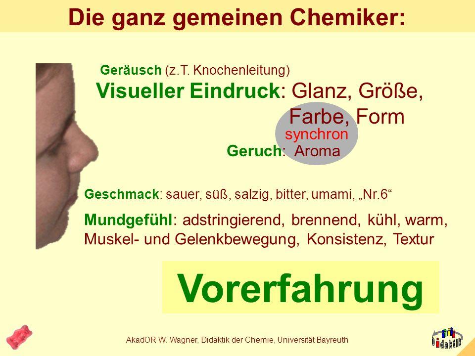 AkadOR W. Wagner, Didaktik der Chemie, Universität Bayreuth Die 1000-Euro-Frage. Wonach schmecken die grünen Haribo-Gummibärchen? A: nach Kiwi C: nach