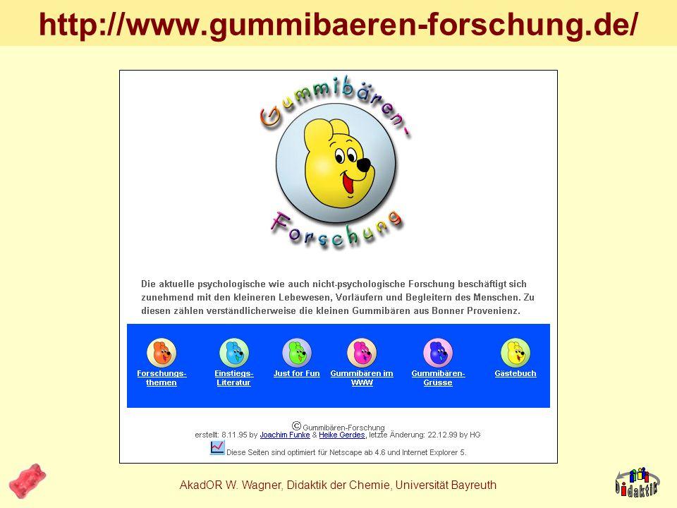 AkadOR W. Wagner, Didaktik der Chemie, Universität Bayreuth Warum schmecken Gummibärchen rot? 1.Nur rote Gummibärchen schmecken rot, gelbe nicht. 2.Wi