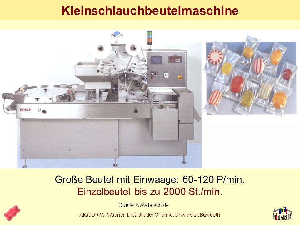 AkadOR W. Wagner, Didaktik der Chemie, Universität Bayreuth Schlangenkochmaschine 2m Quelle: www.bosch.de Produktion: bis 3000 kg/h Formung: bis 500.0