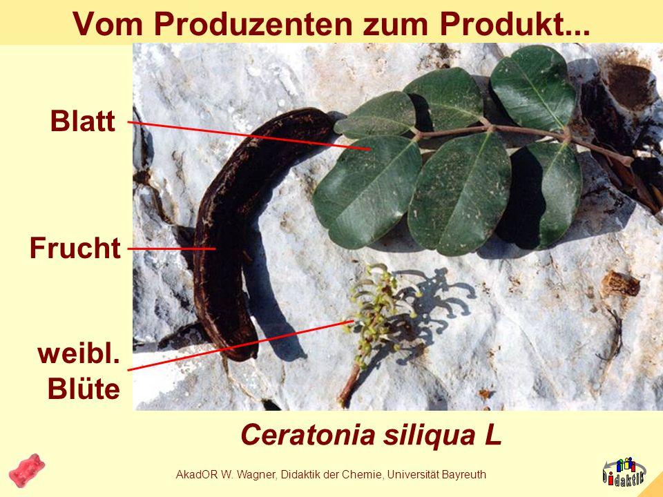 AkadOR W. Wagner, Didaktik der Chemie, Universität Bayreuth Chemische Fabrik Johannisbrotbaum Stabilisa- toren- produk- tion durch Ceratonia siliqua L