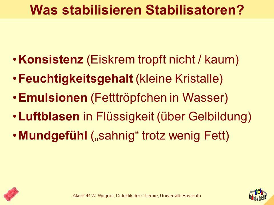 AkadOR W. Wagner, Didaktik der Chemie, Universität Bayreuth Die Zutaten im Bild