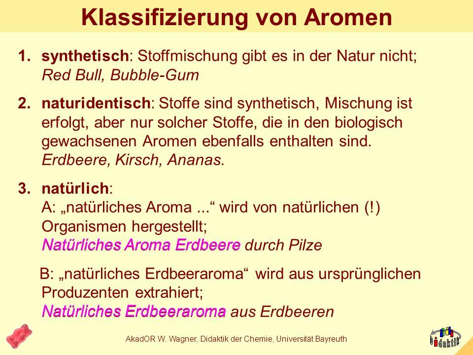 AkadOR W. Wagner, Didaktik der Chemie, Universität Bayreuth Woher stammt natürliches Aroma Erdbeere? A: aus SchimmelB: aus Erdbeeren C: aus natürliche
