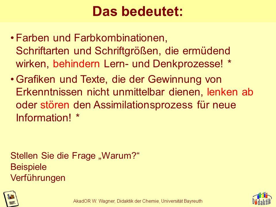 AkadOR W. Wagner, Didaktik der Chemie, Universität Bayreuth Ziele von Unterrichtsmedien ermöglichen die Gewinnung von Erkenntnissen, unterstützen Denk