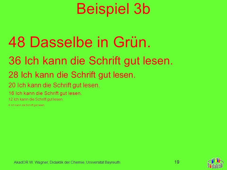 AkadOR W. Wagner, Didaktik der Chemie, Universität Bayreuth 18 Beispiel 3a 48 Umgekehrt ist auch nicht gefahren. 36 Ich kann die Schrift gut lesen. 28
