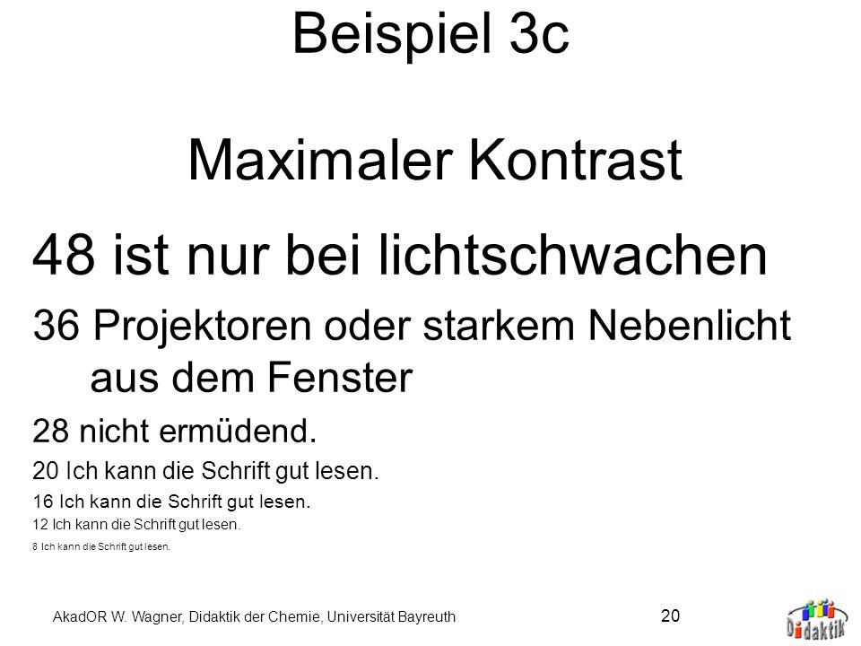AkadOR W. Wagner, Didaktik der Chemie, Universität Bayreuth 19 Beispiel 3b 48 Dasselbe in Grün. 36 Ich kann die Schrift gut lesen. 28 Ich kann die Sch