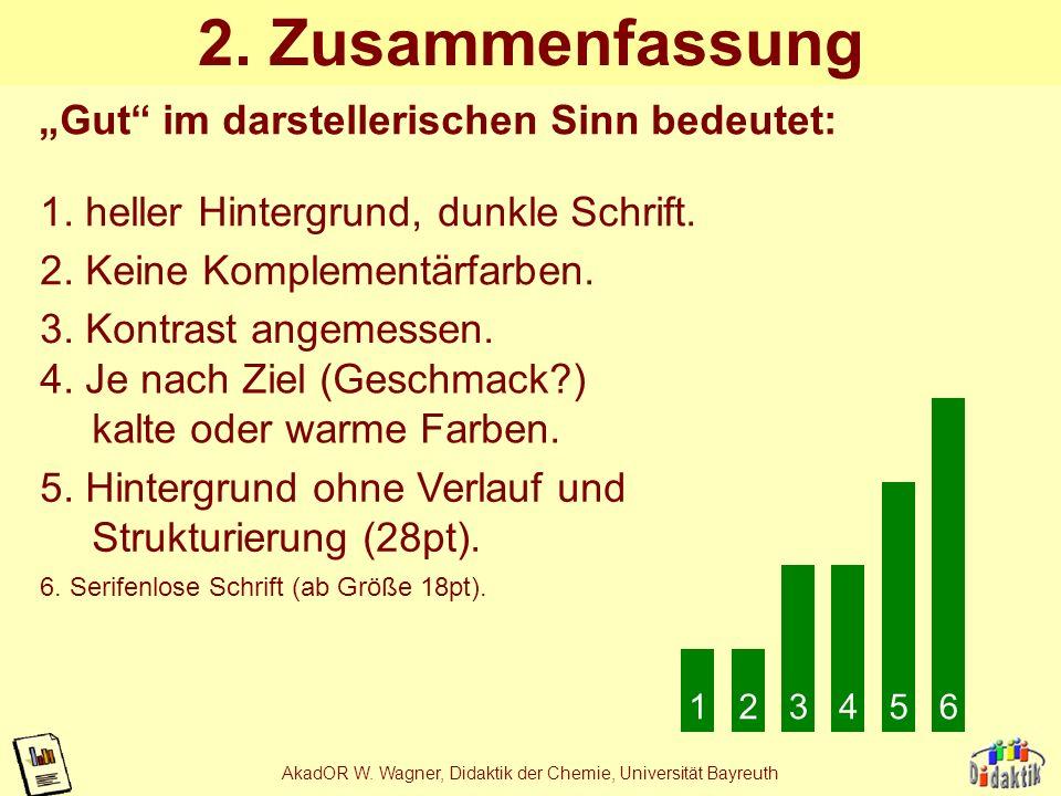 AkadOR W. Wagner, Didaktik der Chemie, Universität Bayreuth Beispiel 4c 48 aber egal ob helle oder dunkle 36 Schrift: eine ist immer irgendwo unleserl