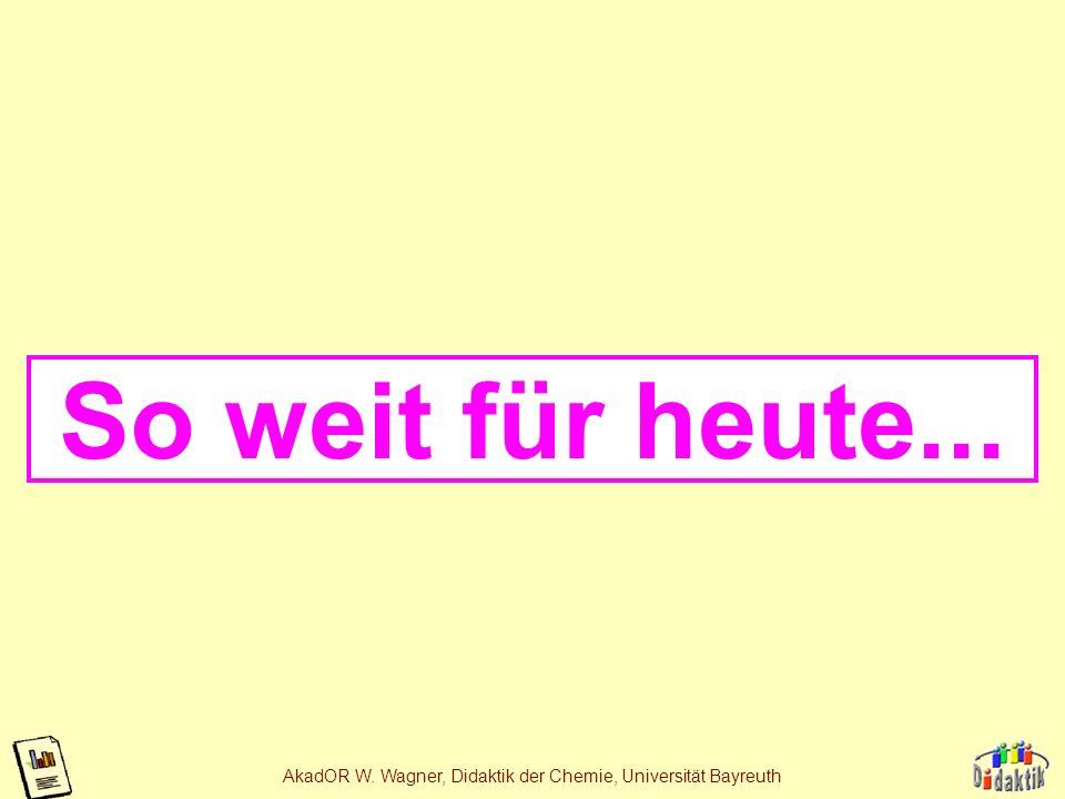AkadOR W. Wagner, Didaktik der Chemie, Universität Bayreuth Die Neutralisationsreaktion Reaktion einer Säure mit einer Base: HCl + NaOH NaCl + H 2 O S