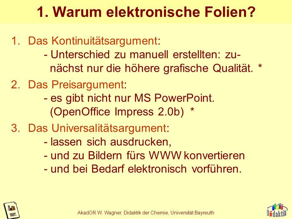 AkadOR W. Wagner, Didaktik der Chemie, Universität Bayreuth Ziele und Gliederung 1.Warum elektronische Folien? 2.Einfluss von Schrift und Farbe 3.Bezi