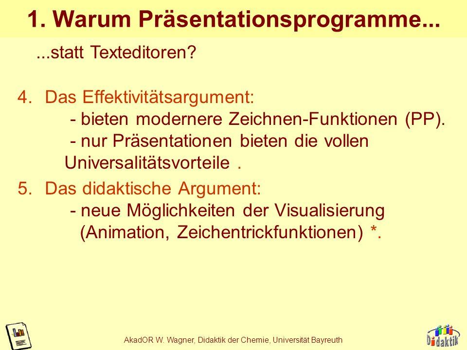 AkadOR W. Wagner, Didaktik der Chemie, Universität Bayreuth 1. Warum elektronische Folien? 1.Das Kontinuitätsargument: - Unterschied zu manuell erstel