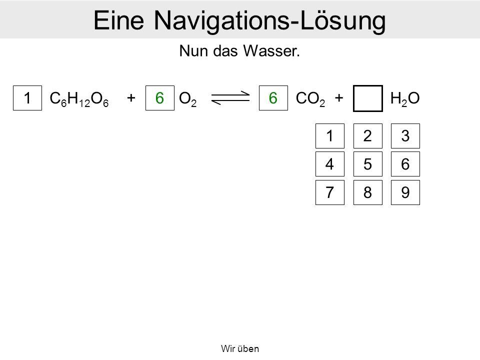 Wir üben Eine Navigations-Lösung C 6 H 12 O 6 1 + 6 O2O2 6 CO 2 +H2OH2O a Nun das Wasser.