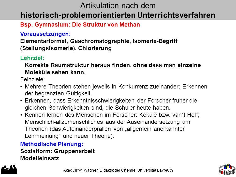AkadDir W. Wagner, Didaktik der Chemie, Universität Bayreuth Artikulation nach dem historisch-problemorientierten Unterrichtsverfahren Bsp. Gymnasium:
