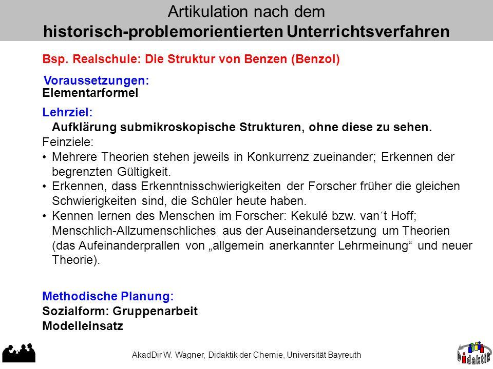 AkadDir W. Wagner, Didaktik der Chemie, Universität Bayreuth Artikulation nach dem historisch-problemorientierten Unterrichtsverfahren Bsp. Realschule