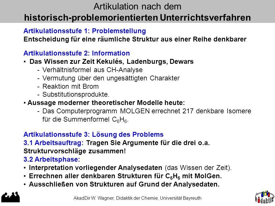 AkadDir W. Wagner, Didaktik der Chemie, Universität Bayreuth Artikulation nach dem historisch-problemorientierten Unterrichtsverfahren Artikulationsst