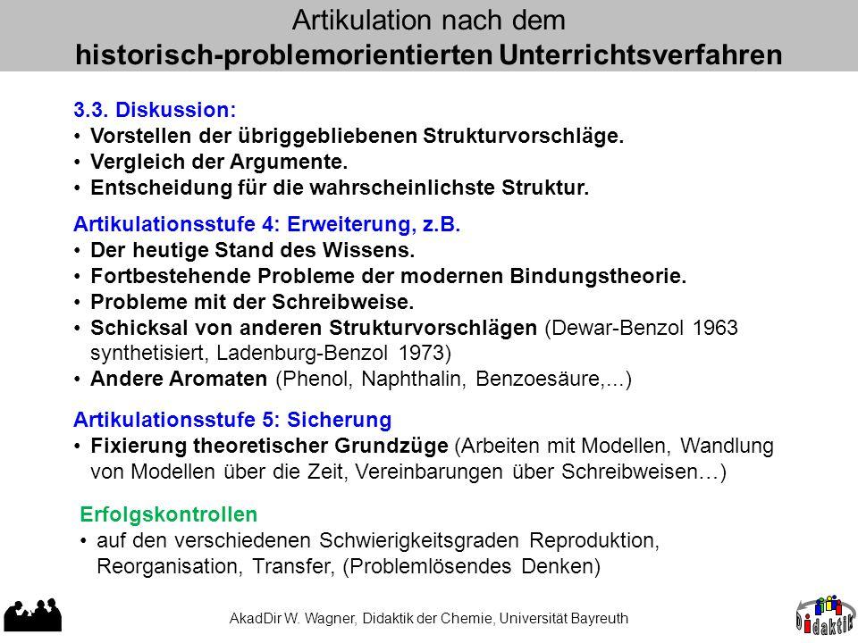AkadDir W. Wagner, Didaktik der Chemie, Universität Bayreuth Artikulation nach dem historisch-problemorientierten Unterrichtsverfahren 3.3. Diskussion