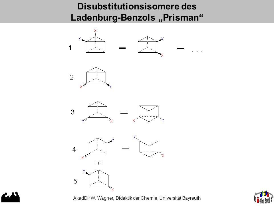 AkadDir W. Wagner, Didaktik der Chemie, Universität Bayreuth Disubstitutionsisomere des Ladenburg-Benzols Prisman