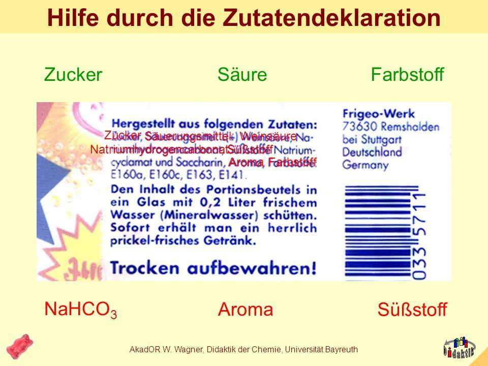 AkadOR W. Wagner, Didaktik der Chemie, Universität Bayreuth Brausepulver als Gemisch farbige Körnchen: Farbstoff weisses Pulver: Hydrogen- carbonat Ar