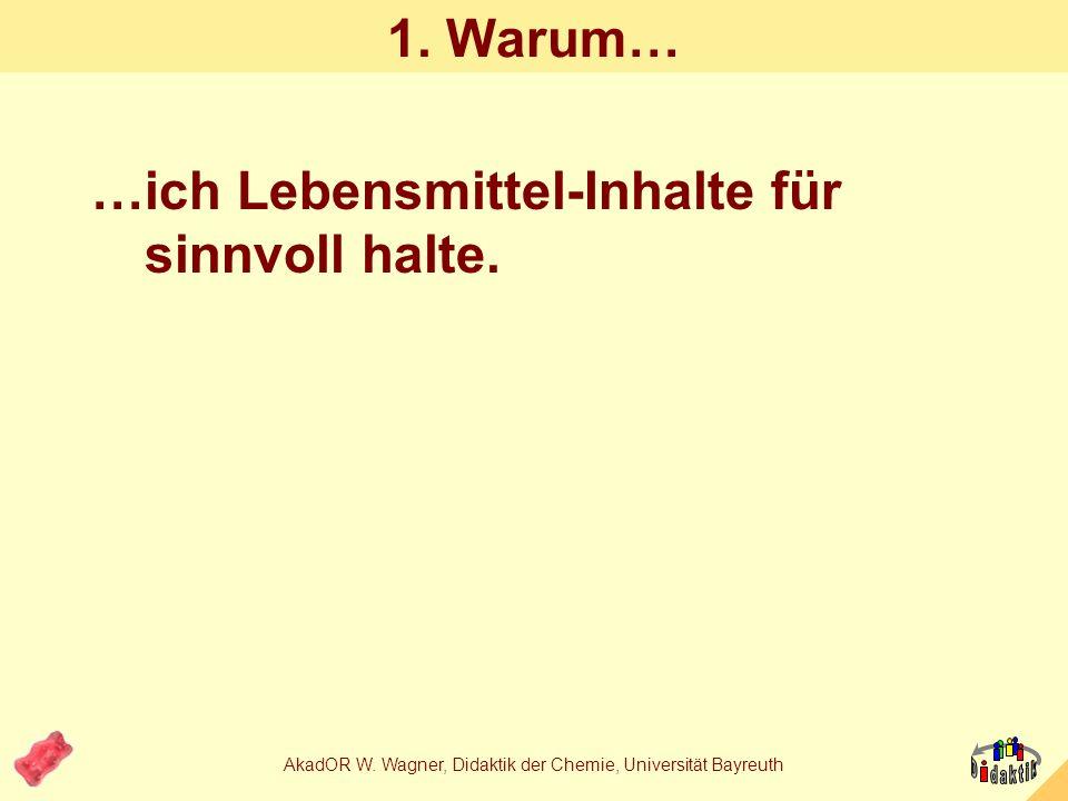 AkadOR W. Wagner, Didaktik der Chemie, Universität Bayreuth Sie erfahren heute etwas darüber... 1.Warum ich es für sinnvoll halte, Kenntnisse über Leb