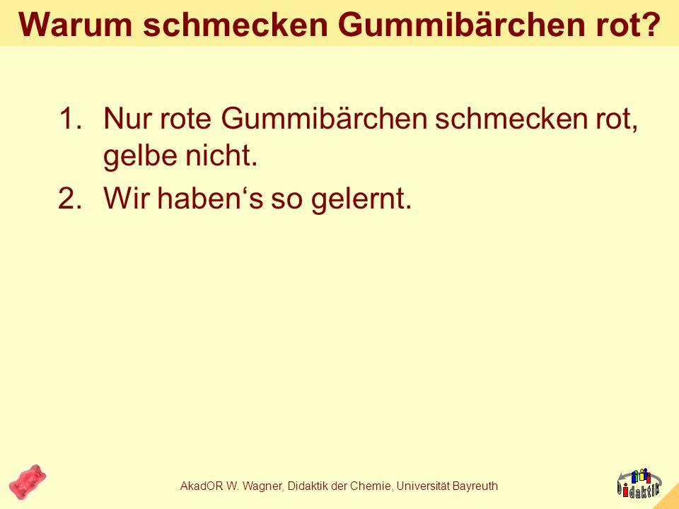 AkadOR W. Wagner, Didaktik der Chemie, Universität Bayreuth synchron Die ganz gemeinen Chemiker: Visueller Eindruck: Glanz, Größe, Farbe, Form Geruch: