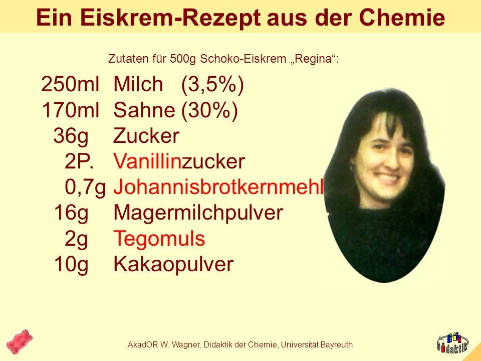 AkadOR W. Wagner, Didaktik der Chemie, Universität Bayreuth Stabilisator: Johannisbrotkernmehl = CarubinCarubin -(1,4)-Polymannose-Polyether mit -(1,6