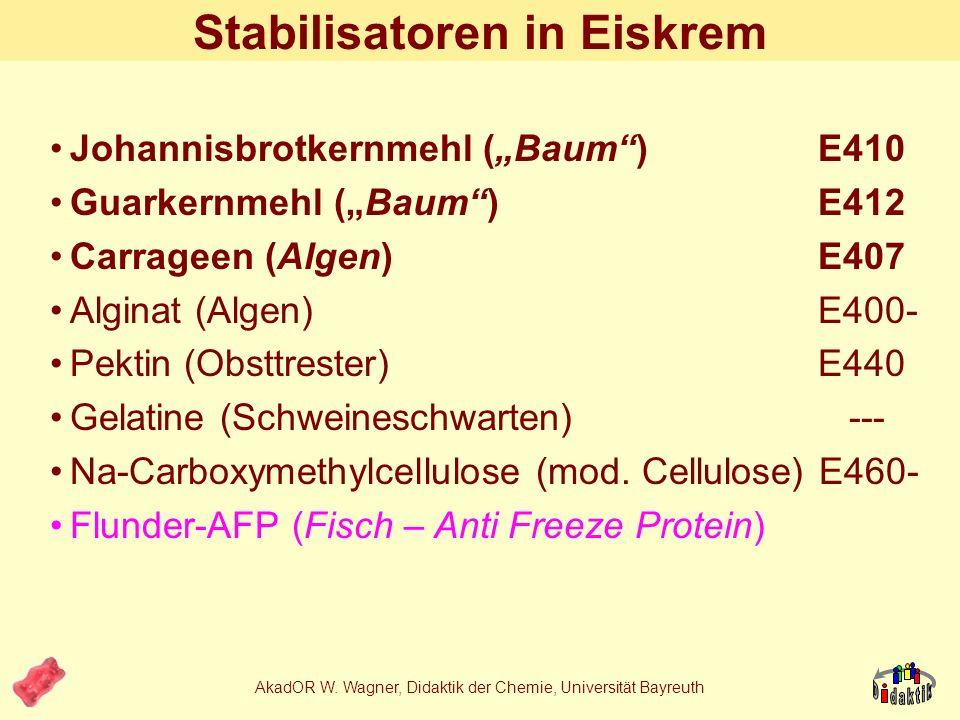 AkadOR W. Wagner, Didaktik der Chemie, Universität Bayreuth Was stabilisieren Stabilisatoren? Konsistenz (Eiskrem tropft nicht / kaum) Feuchtigkeitsge