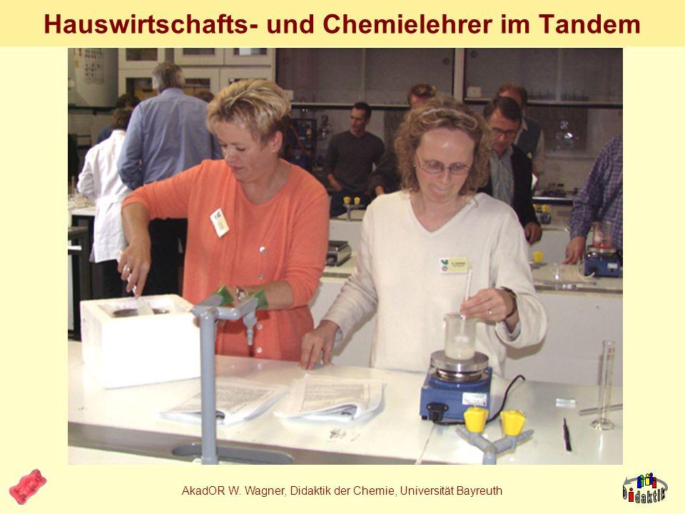 AkadOR W. Wagner, Didaktik der Chemie, Universität Bayreuth (industr.) Eiskrem Eiskrem in Gruppenarbeit 1. - Emulgator 2. - Stabilisator 3. vollst. Va