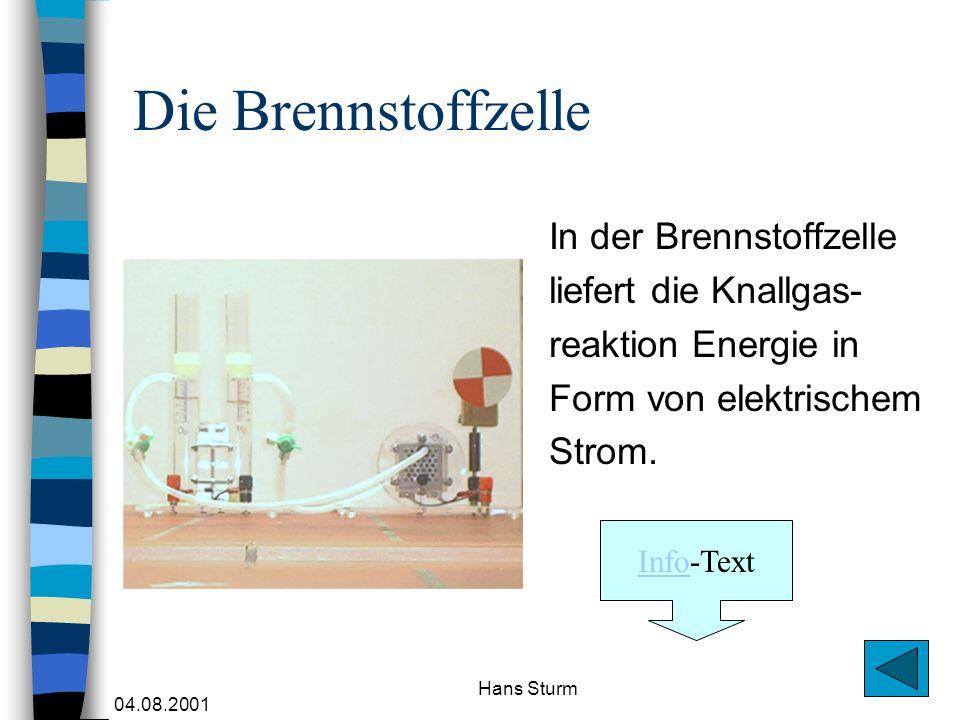 04.08.2001 Hans Sturm Die Brennstoffzelle In der Brennstoffzelle liefert die Knallgas- reaktion Energie in Form von elektrischem Strom. InfoInfo-Text