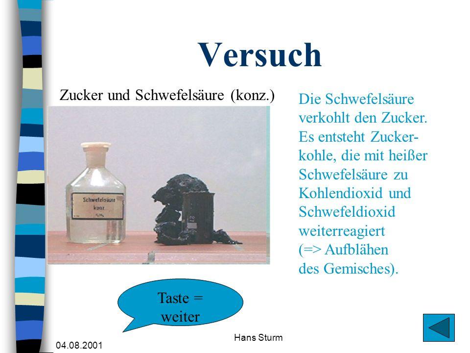 04.08.2001 Hans Sturm Versuch Zucker und Schwefelsäure (konz.) Die Schwefelsäure verkohlt den Zucker. Es entsteht Zucker- kohle, die mit heißer Schwef