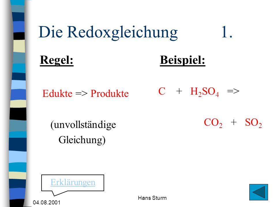 04.08.2001 Hans Sturm Die Redoxgleichung 1. Edukte => Produkte (unvollständige Gleichung) C + H 2 SO 4 => CO 2 + SO 2 Regel:Beispiel: Erklärungen