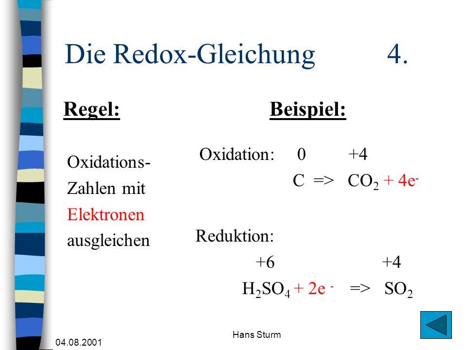 04.08.2001 Hans Sturm Die Redox-Gleichung 4. Oxidations- Zahlen mit Elektronen ausgleichen Oxidation: 0 +4 C => CO 2 + 4e - Regel:Beispiel: Reduktion: