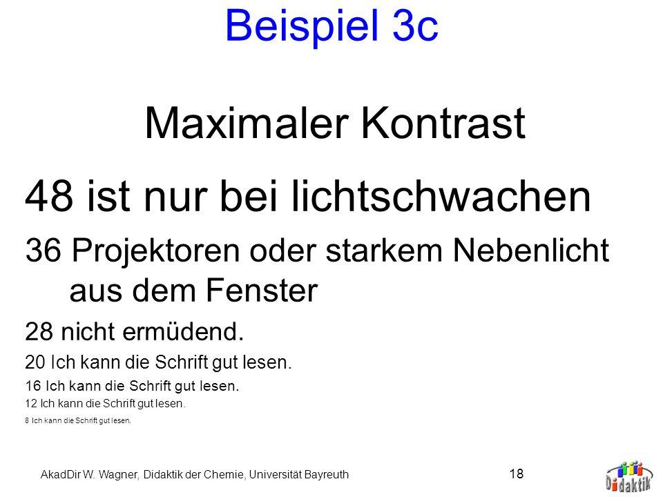 AkadDir W. Wagner, Didaktik der Chemie, Universität Bayreuth 17 Beispiel 3b 48 Dasselbe in Grün. 36 Ich kann die Schrift gut lesen. 28 Ich kann die Sc