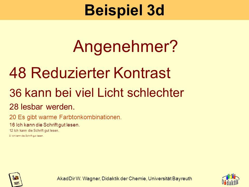 AkadDir W. Wagner, Didaktik der Chemie, Universität Bayreuth 18 Beispiel 3c 48 ist nur bei lichtschwachen 36 Projektoren oder starkem Nebenlicht aus d