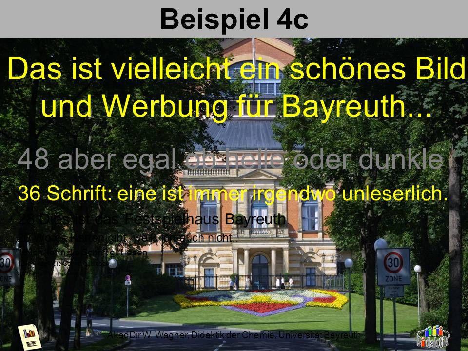 AkadDir W. Wagner, Didaktik der Chemie, Universität Bayreuth Beispiel 4b nicht strukturierter Hintergrund; schwarze Schrift bestens lesbar, helle über
