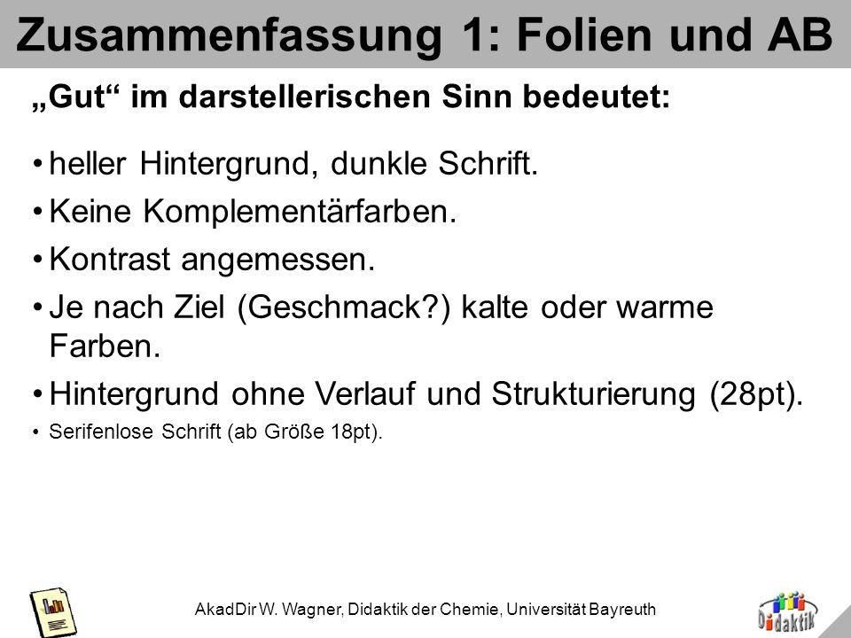 AkadDir W. Wagner, Didaktik der Chemie, Universität Bayreuth Beispiel 4c 48 aber egal ob helle oder dunkle 36 Schrift: eine ist immer irgendwo unleser