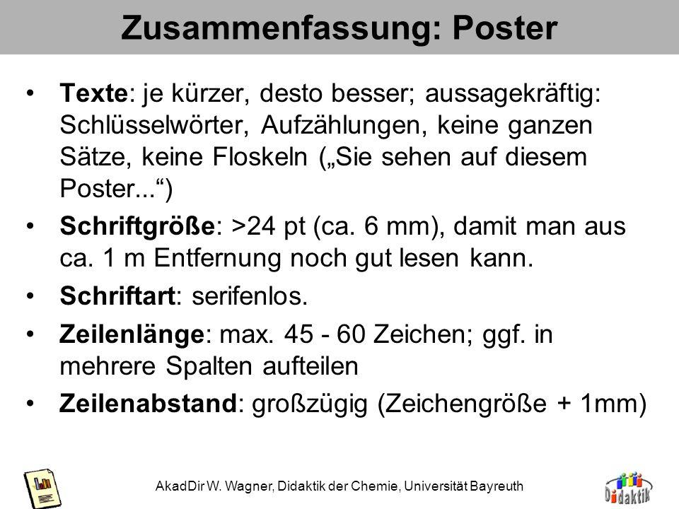 AkadDir W. Wagner, Didaktik der Chemie, Universität Bayreuth Zusammenfassung 2: Regeln für Poster Titel: aus 5m Entfernung gut lesbar (ab 40 pt), ev.