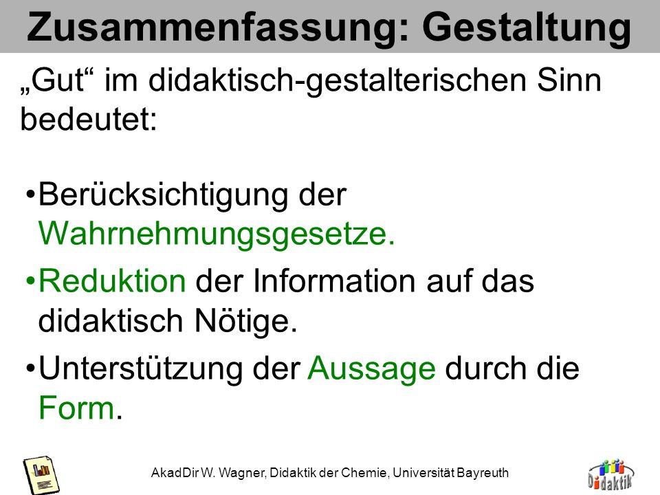 AkadDir W. Wagner, Didaktik der Chemie, Universität Bayreuth Anwendung